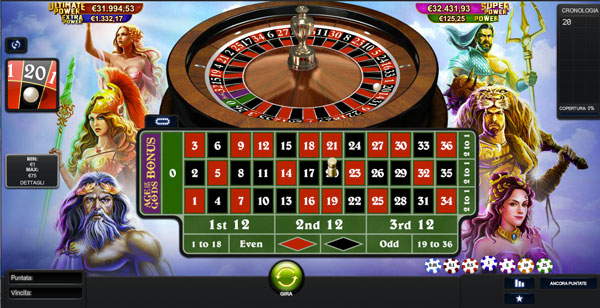 roulette con jackpot age of the gods