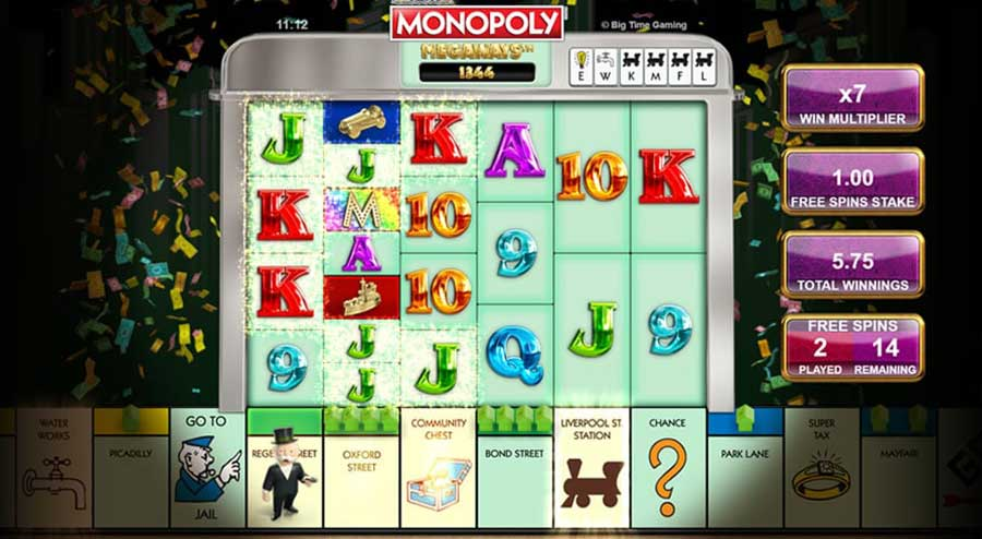 monopoly megaways free spins